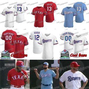 2020 Açılış Yama Joey Gallo Elvis Andrus Shin-Soo Choo Rougned Koku Danny Santana Nomar Mazara DELINO DeShields Beyzbol Jersey