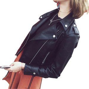 Liva girl Pu Deri Ceket Kadın Moda Parlak Renkler Siyah Motosiklet Ceket Kısa Faux Deri Biker Ceket Yumuşak Kadın