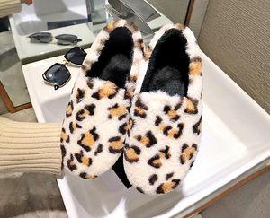 Hotsale Casual sapatos de peles preguiçosos das mulheres baixo cabeça redonda tamanho leopardo além de algodão de veludo sapatos de inverno desgaste home liso 35-40