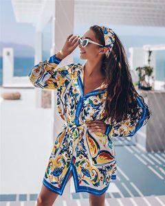 Цветочные печати женские повседневные платья Мода Красочные Щитовые Для женщин Рубашка платья с длинным рукавом Повседневная Женщины Одежда