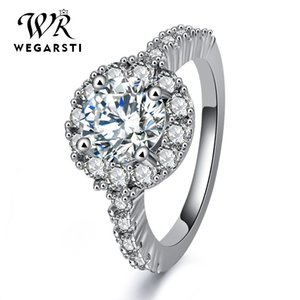 Rings WEGERSTI European Style Trendy Circular Mosaic White 925 Silver Jewelry Wedding Bands gifts Ring For Women Drop Shiping