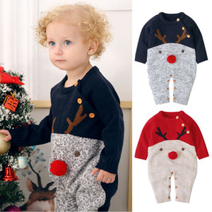 Xmas-Baby-Kind-Bodysuit Säuglingsspielanzug Pullover Overall-Jungen-Mädchen-Rotwild-Strick