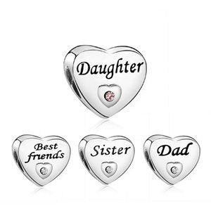 Yeni stil Charm kalp boncuk aile üyesi arkadaş baba kardeş kızı Charms fit Için kolye bilezik DIY Takı aksesuarları hediye