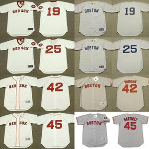 Boston 25 Tony Conigliaro 42 MO VAUGHN 19 Fred Lynn 45 PEDRO MARTINEZ maillot de baseball cousu