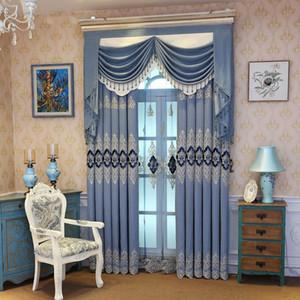 Simple European Elegant Living Room Bedroom Blackout Curtains Blue Embroidered Curtains Tulle Custom Hotel Beige Curtain M122#4