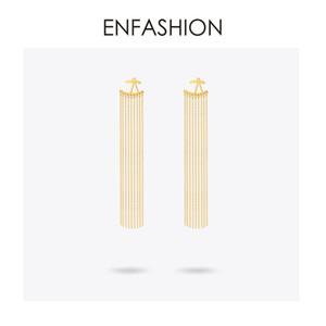 Enfashion Uzun Püsküller Dangle Küpe Altın Renk Küpe Kadınlar Için Bırak Küpe Uzun Küpe Moda Takı Brinco C19041101
