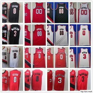 2020 New Red Stitched Damian 0 Lillard Jersey City Black Carmelo 00 Anthony CJ 3 McCollum Mens Retro Basketball Clyde 22 Drexler Jersey