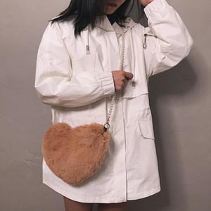 Designer-2020 Faux Inverno Fur Coração Bolsa Para Mulheres Lady Handbag Bolsa de Ombro Kawaii meninas Big Love Mensageiro Crossbody