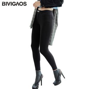 BIVIGAOS Outono Inverno New coreana Hi-Q Dois botões mágicos calças skinny Magro Preto Leggings Calças Lápis Elastic Calças femininas