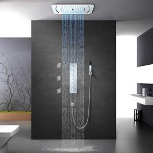 Chuvas Cachoeira Shower Head Light LED Showerhead termostática torneira do chuveiro Mixer Incorporado teto Montado Set Shower