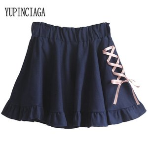 YUPINCIAGA Летний женский Сладкий Шнуровка Kawaii Тонкий Art Pink Юбка Джинсовая мини-юбки Faldas Mujer Moda высокой талией плиссированные юбки