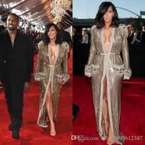 2019 Yeni Grammy Kim Kardashian Parlak Altın Sequins Ünlü Kırmızı Halı Elbiseleri Uzun Kollu Boncuk Ön Yarık Abiye 115