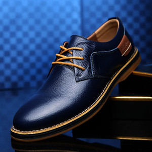 Men Oxford Genuine Leather Dress Shoes Big Size Flats Men Casual Moccasins Fashion Office Walking Footwear 5#20 20D50