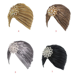 Fashion Women Turban Hat Head Wrap Lady Female Outdoor Casual Pleated Soft Velvet Hair Cover Cap with Brooch 4 Styles
