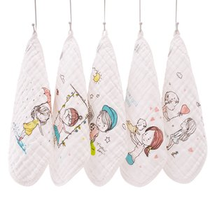 5шт / серия Стиральных марлевых Полотенец муслина хлопок младенцы Малого Полотенце новорожденного Baby Face полотенце Мягкая платочек 30 * 30см CJ191217