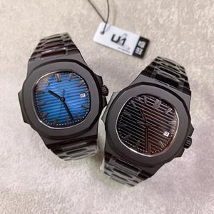 U1 공장의 최신 PP 고급 남성 손목 시계 블랙 쉘 투명 다시 자동 기계 스테인레스 스틸 스포츠 시계