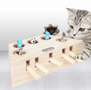Cartoon pellet frappé jouet éducatif souris animal jouer jouet puzzle chat gopher bois massif trois ou cinq trous jouet drôle de chat en bois