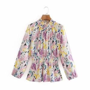 2020 여성의 블라우스 스트리트 패션 컬러 인쇄 및 염색 긴 소매 셔츠 허리 풀오버 아가씨 바닥 셔츠 가을