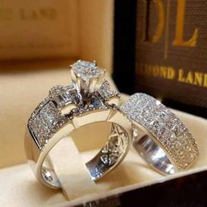 Combinaison diamant Bague de mariage Bague de fiançailles Ensembles pour le diamant femmes Knuckle anneaux bijoux à la mode cadeau 080441