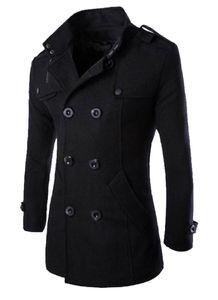 Erkek İngiliz Kruvaze Sıcak Palto Kış Ince Yün Karışımları Kabanlar Palto Erkek Moda Giyim Mont Tops