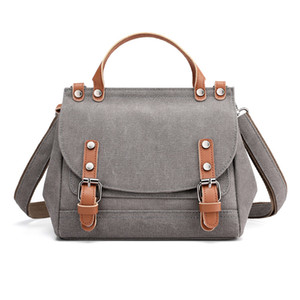 All-match portable messenger ladies bag 2020 autumn and winter new retro solid color shoulder fashion canvas bag women bag