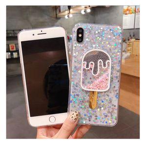 Yumuşak TPU Dondurma Bling Bling Glitter Telefon Kılıfı iPhone X 8 7 6 6S Artı Arka Kapak Shell Cilt iphone case
