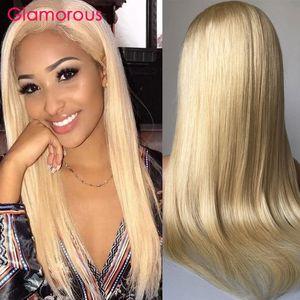 150% Densità Biondi capelli umani parrucche piene del merletto di colore # 613 Etero Glueless parrucche piene del merletto dei capelli umani per le donne