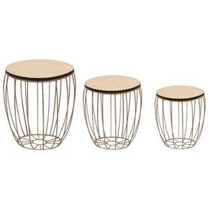3-Piece Coffee Table Set In Poplar madeira compensada e aço Dining Room Furniture
