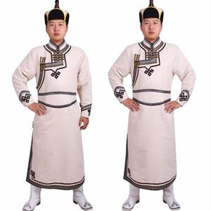 Costume ethnique Homme vêtu de vêtements mongolie homme imitation costume velours peau de daim Mongolie vêtements Mongolian tenue drapée