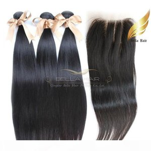 Human Hair Wefts With Lace Closure 3 Part Brazilian Hair Silky Straight Natural Color 8-34 Inch Free Shipping Bellahair