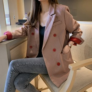 2019 autumn temperament plaid suit women's medium and Sling Coat coat long style hanging heavy texture small suit top fashion