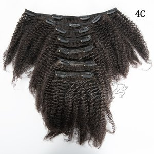 Brazilian VMAE 4A 4C Natural Color 100g Afro Kinky Kingly Kingly Sylyticle Aligned Virgin Remy Human Hair Extensions Clip In