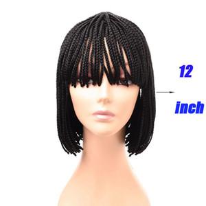 12 zoll Kurze Natur Black Box Braid Perücke Afroamerikaner Geflochtene Perücken mit Pony für schwarze Frauen