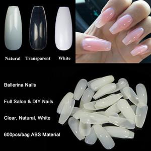 Bailarina Pontas Da Arte Do Prego Transparente / Natural Falso Caixão Nails Art Tips Forma Plana Cobertura Completa Manicure Fake Prego