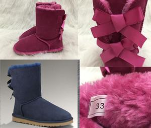 뜨거운 호주 스노우 부츠 여자 스타일 아이 귀여운 버튼 방수 슬립 어린이 겨울 암소 가죽 부츠 고급 디자이너 신발 EUR 21-35