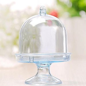 Transparent Plastic Candy Box Mini Cake Stand Cupcake Box Wedding Favor Party Baby Shower Birthday Decoration Gift for Kids