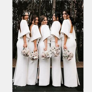 Flare Sleeve Elegant Satin White Bridesmaid Dresses Arabic 2020 Sexy V Neck Maid Of Honor Gowns Backless Wedding Guest Party Dress AL6446