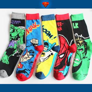 Presentes dos desenhos animados da forma dos homens de alta qualidade vestido Socks Rua Anime super-herói Capitão meias de homens meias de algodão esporte Casual Street Style