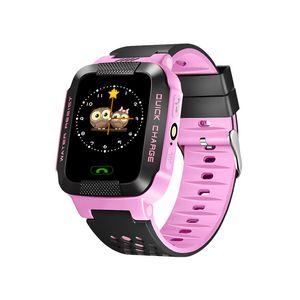 Y21 GPS Reloj inteligente para niños Linterna antipérdida Reloj de pulsera inteligente para bebés SOS Ubicación de la llamada Dispositivo Rastreador Kid Safe vs Q528 Q750 Q100 DZ09 U8