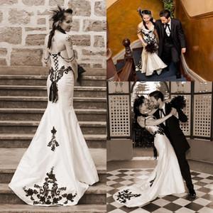 Vintage branco preto sereia vestidos de casamento elegante Lace Applique frisado Lace-up espartilho vestidos de noiva robe de mariage jardim vestido de casamento