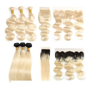A C Cheap Human Virgin Hair Bundles With Closures Straight 1b 613 Brazilian Hair Extensions Body Wave Wefts Weaves With Frontal Accesso