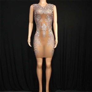 T95 robe sexy pole dance costumes de danse cristal scène féminine voir par les femmes outfit perspective strass chanteur jupe hip étirement porte