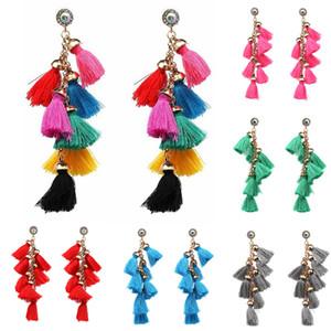 Женская мода Заявление кисточкой серьги для женщин падения Pom Pom Окантовка серьги партия ювелирных аксессуаров подарок