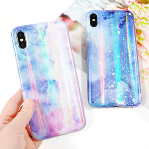 Shining Aurora Laser Light IMD Soft Phone Case For iPhone X XS XR XS Max 7 8 6 6S Plus Soft Luxury Bling Glitter Back Cover