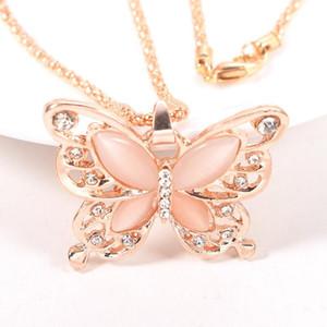 Catena del maglione Collana in Oro catena dell'oro Splendidamente collana di modo della Rosa placcato Opal farfalla regalo della farfalla di fascino della collana di DHL Fre