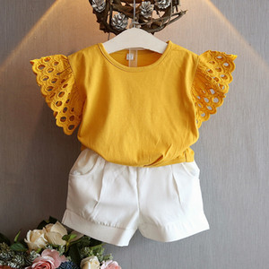 Summer Toddler Kid Baby Girl Summer Clothes Hollow Out Solid Color T-Shirt Tops+Short Pants Outfit 3-8Years