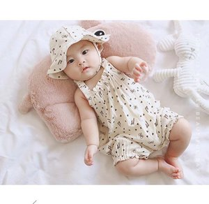 Baby Designer Summer Rompers 2019 Nouvel Enfant Sangle Fine Imprimé avec Motif Unisexe Garçons et Filles Été Mignons Combinaisons Avec Un Chapeau