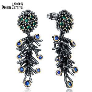 Dreamcarnival 1989 Gotik Vintage Siyah Altın Renk Şube Dangle Küpe Kadınlar Için Yeşil Mavi Kübik Zirkonya Takı We3786 C19041101