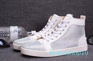 Mode blanc Rhinetone design cristal en cuir véritable pour les hommes des femmes chaussures de sport de fond luxe rouge chaussures chaussures causales formateur de loisirs
