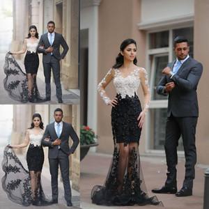 Мода Глубокий V-образным вырезом с длинным рукавом Русалка Вечерние платья Тюль Аппликации бисером вечерние платья Пром платья Robe De Soir